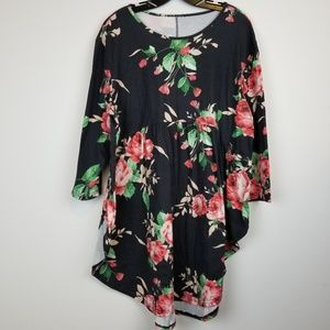 Black floral babydoll tunic dress plus size 2X